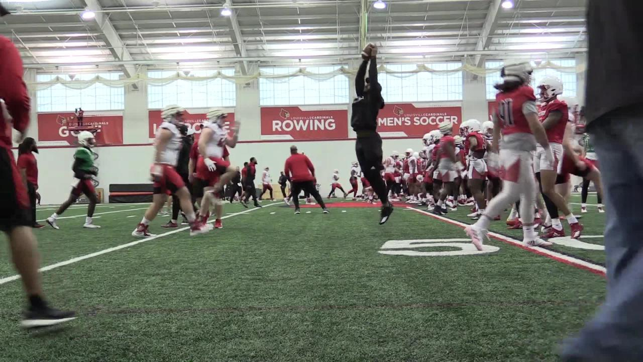 The Louisville football team began its spring practice on Monday.