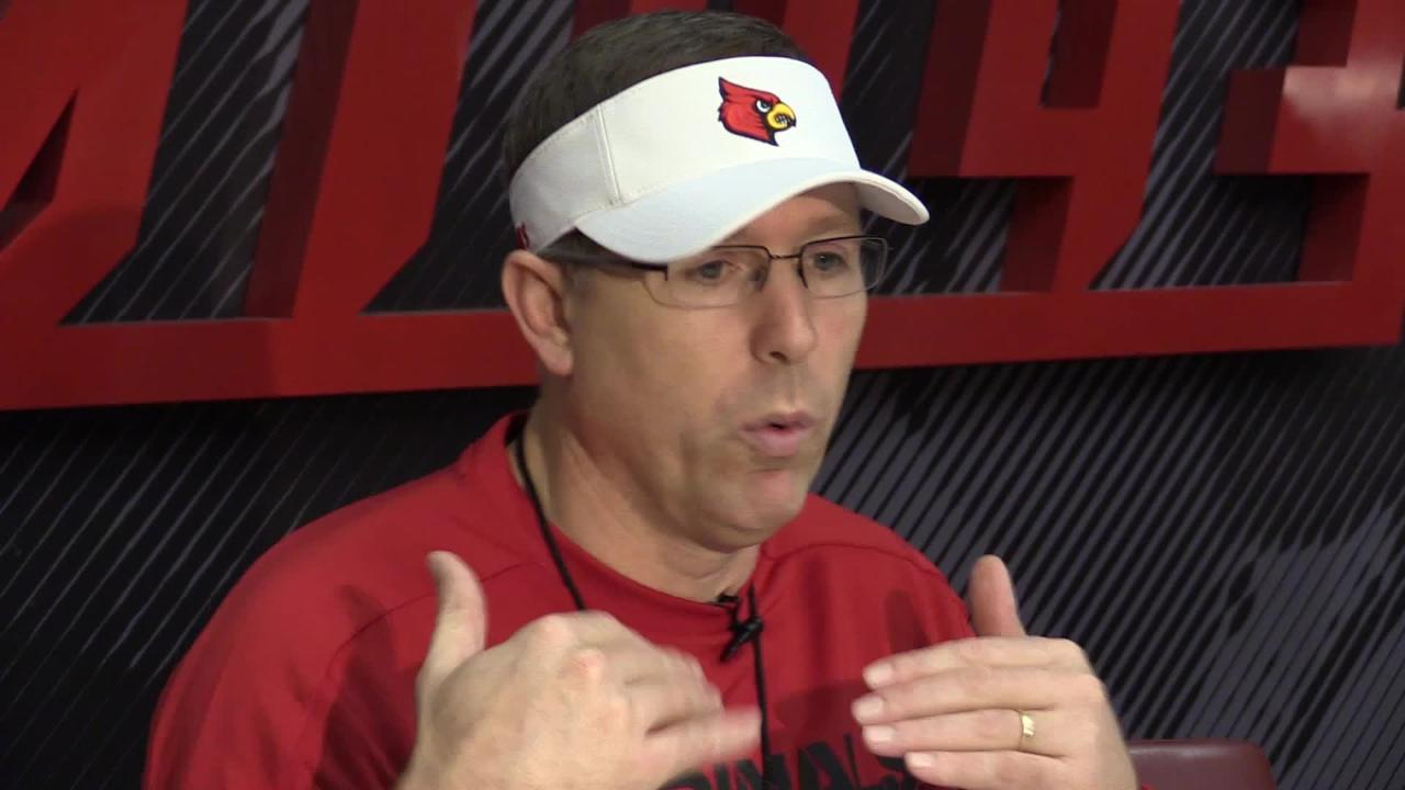 Louisville football coach Scott Satterfield talks after the Cards finished their first spring practice.
