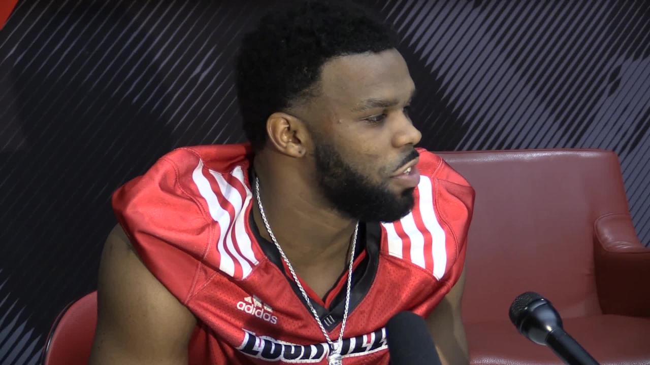 Louisville football players recap their first day of spring practice under new head coach Scott Satterfield.