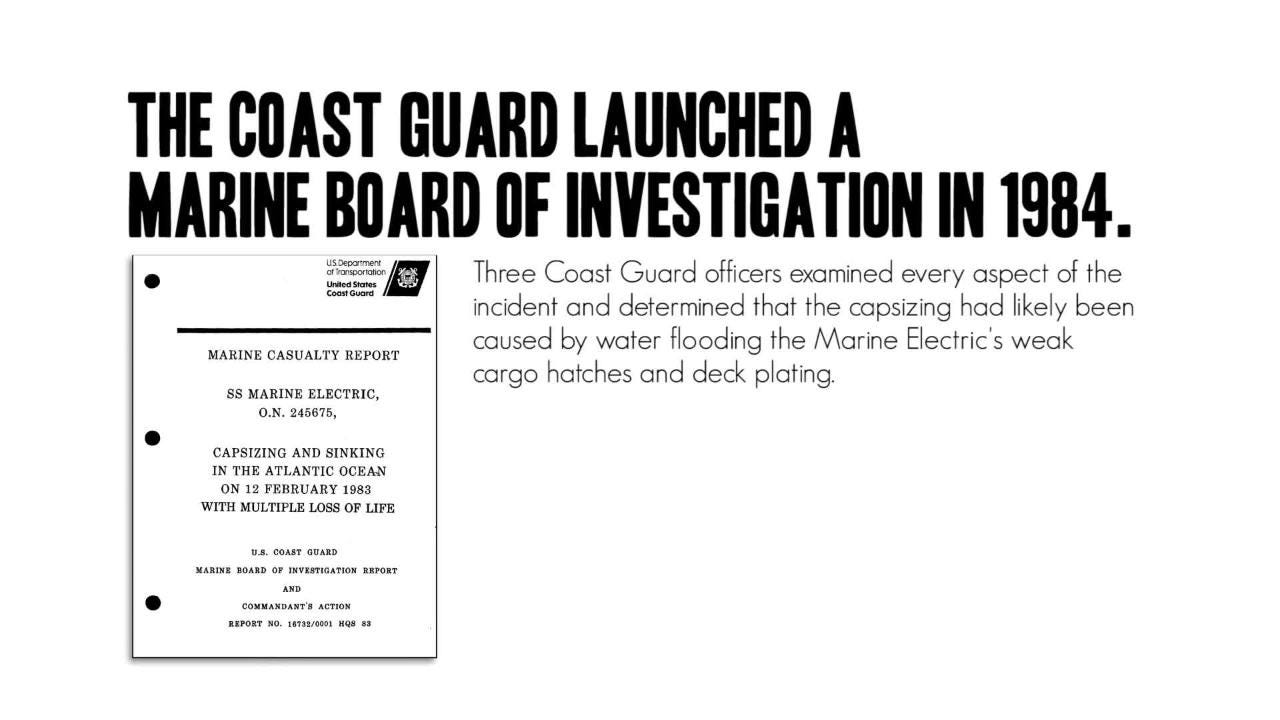 The Marine Electric shipwreck in February 1983 off Virginia's Eastern Shore had a lasting impact on the Coast Guard.