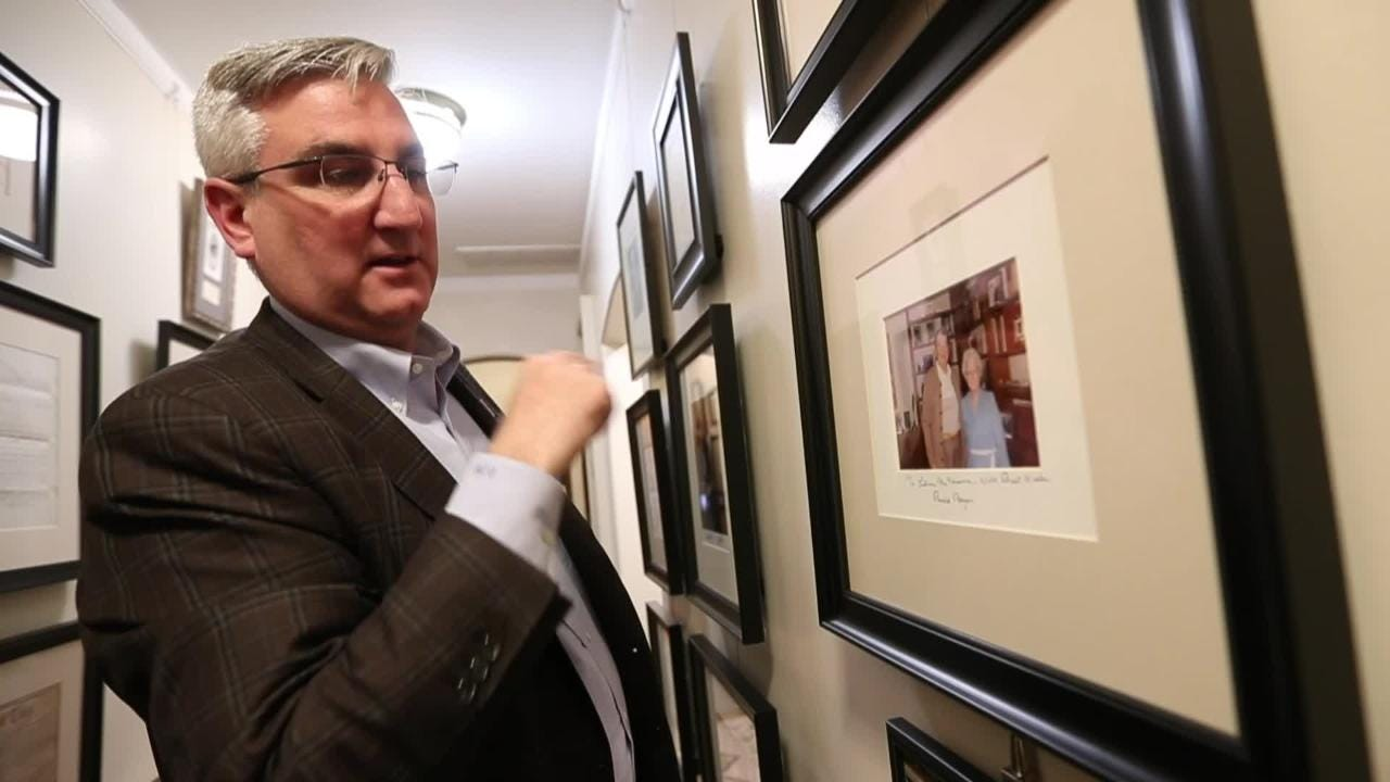 Governor Eric Holcomb shows his collection of historic documents and memorabilia at the personal residence of the Governor's Mansion.