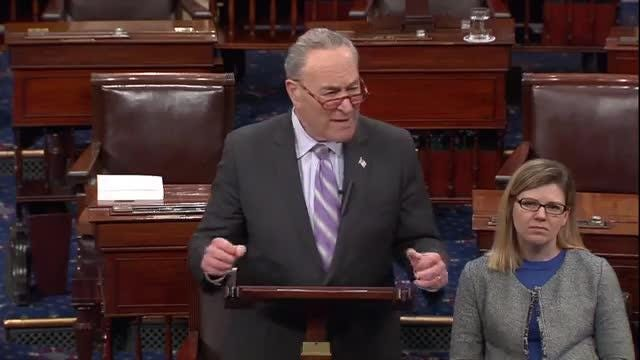 Senate Democratic Leader Chuck Schumer talked on the Senate floor Tuesday, Feb. 12, 2019, about his concerns of a potential sale of Gannett to MGN, known as Digital First.