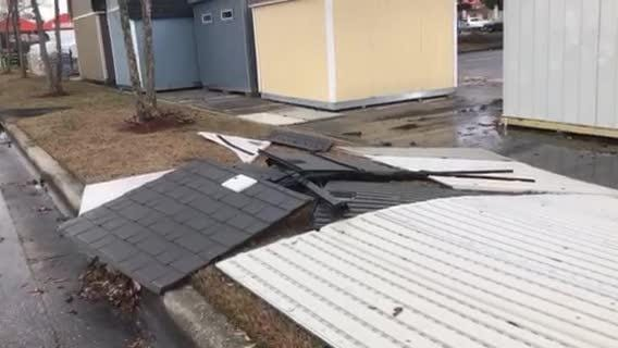 A line of storms moving through Northwest Florida caused minor damage in the Pace and Crestview area Tuesday afternoon.