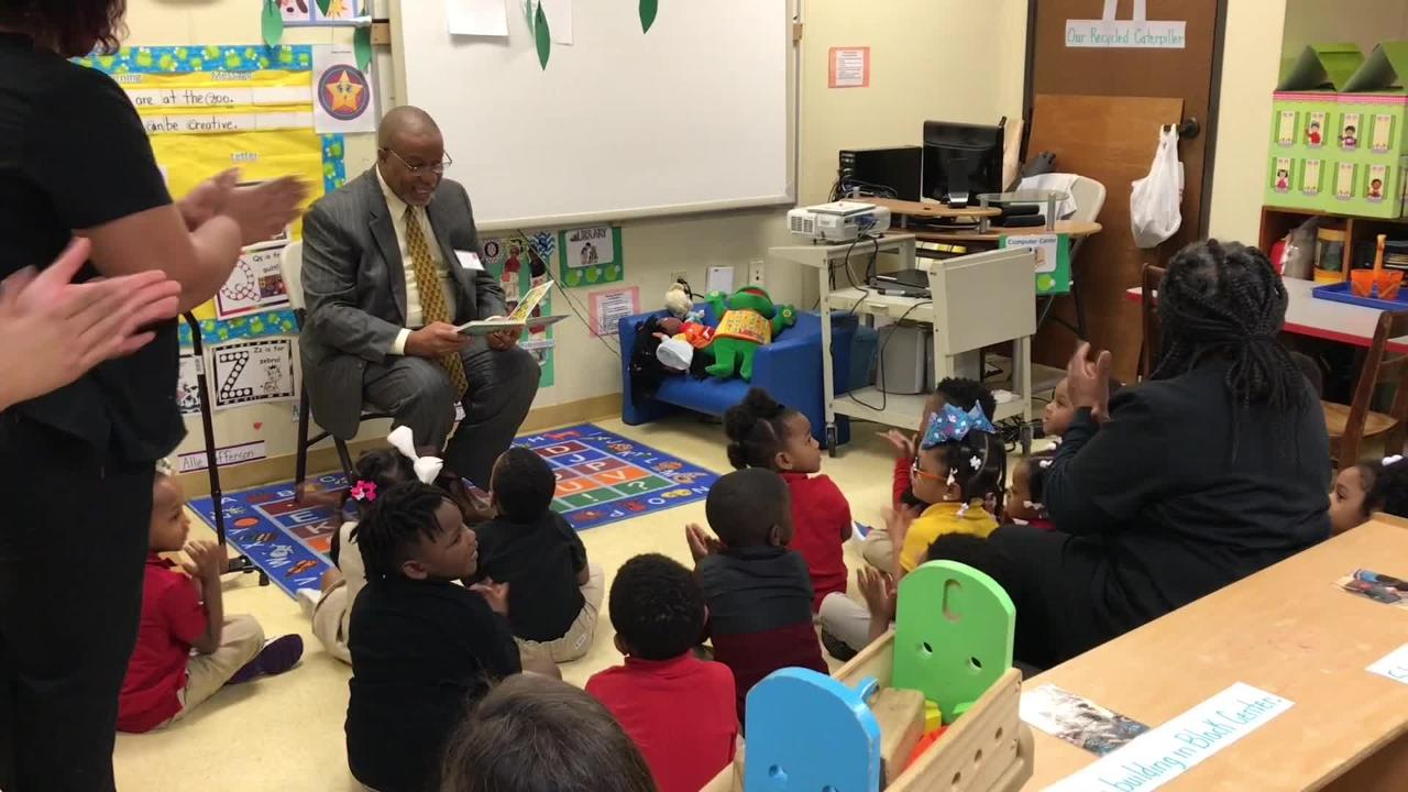 State senators and representatives read to students at the Gethsemane LaPetite Early Childhood Development Center following a summit.