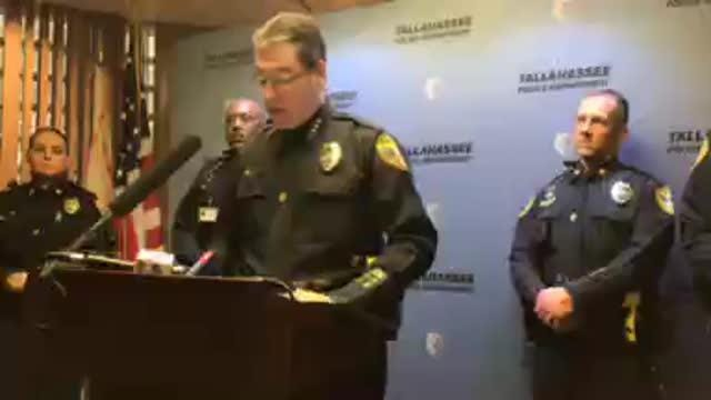 Tallahassee Police Chief Michael DeLeo provides an update on the November Hot Yoga studio shooting investigation.