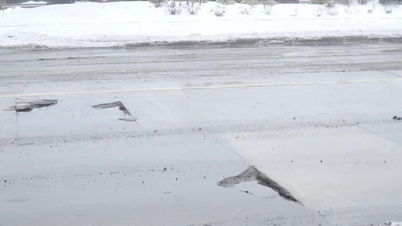 Check out some of the vicious potholes that lie in the northbound lanes of Canton Center Road