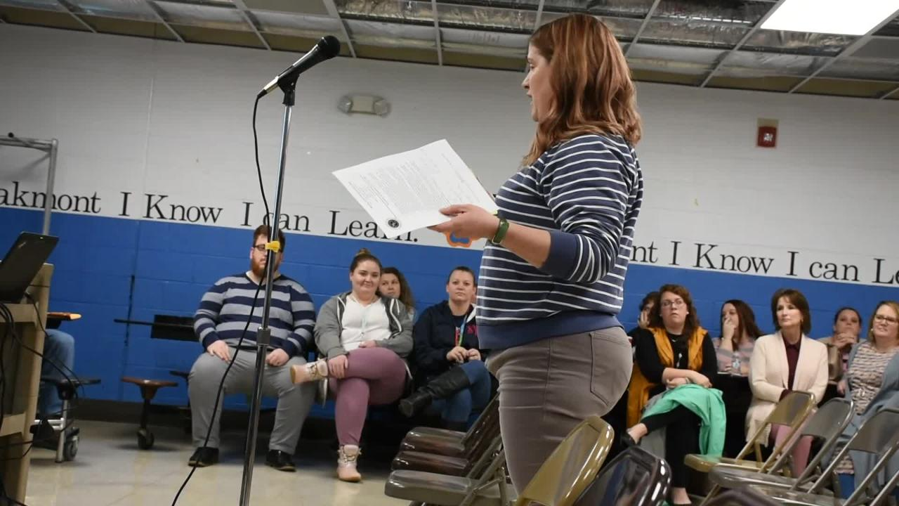 """Parents speak at Dickson County Schools """"Listening Tour"""" meeting for zoning changes in the school system."""