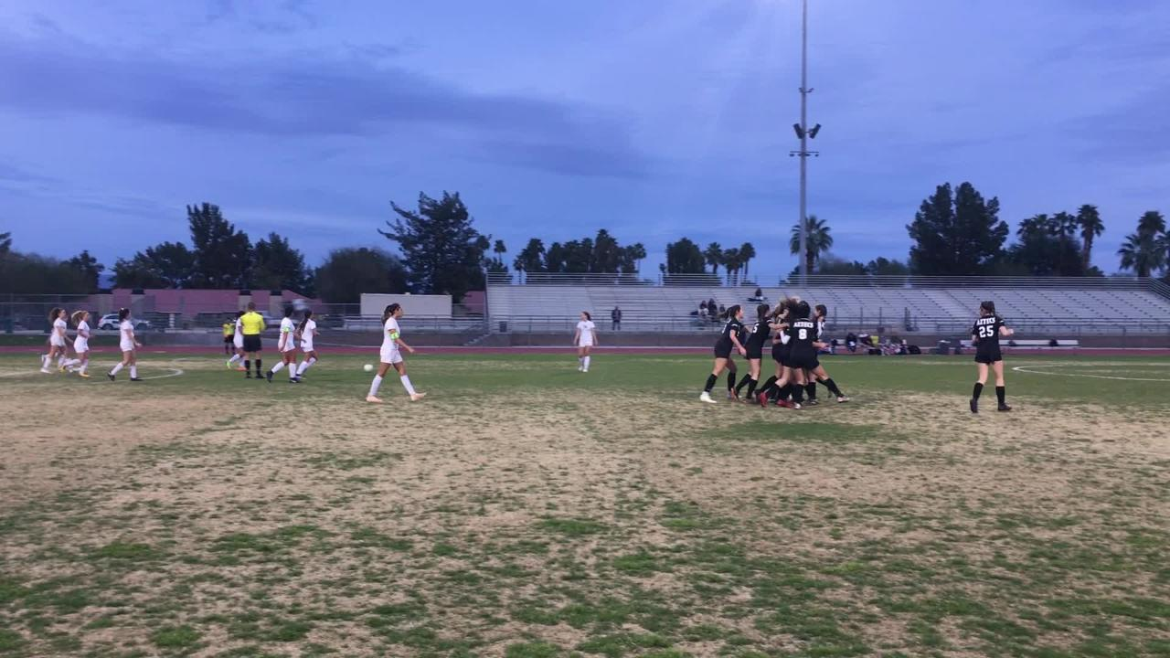 Palm Desert girls take an early lead in their quarterfinal game with a free kick goal