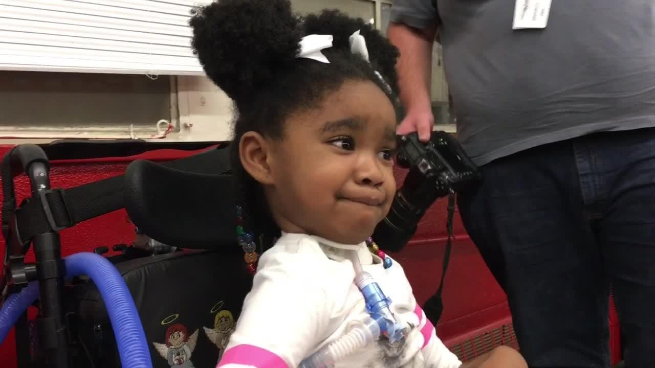 Geonni Johnson may be in a wheelchair after being struck with acute flaccid myelitis, but she's still a curious 4-year-old.