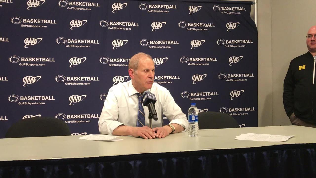 Michigan basketball coach John Beilein speaks to the media after the 75-69 loss at Penn State on Tuesday, Feb. 12, 2019, in State College, Pa.