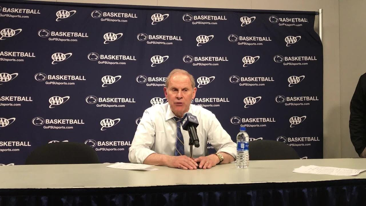 Michigan coach John Beilein speaks to the media after the 75-69 loss to Penn State on Tuesday, Feb. 12, 2019, in State College, Pa.