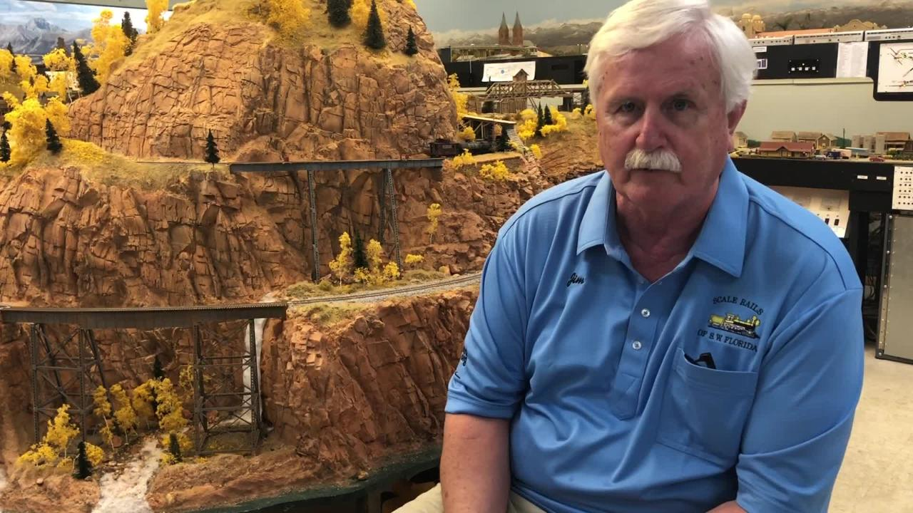 Jim Morse talks about the layout in the N. Fort Myers home of Scale Rails. The model-railroading club holds its annual show Feb. 16-17 at Araba Temple.