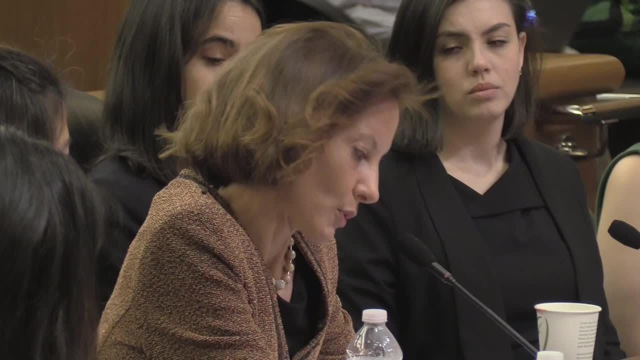 Elizabeth Crothers, who was shunned when she accused Assembly counsel Michael Boxley of rape in 2001, describes the lasting impact of the attack during a hearing in Albany on Feb. 13, 2019.
