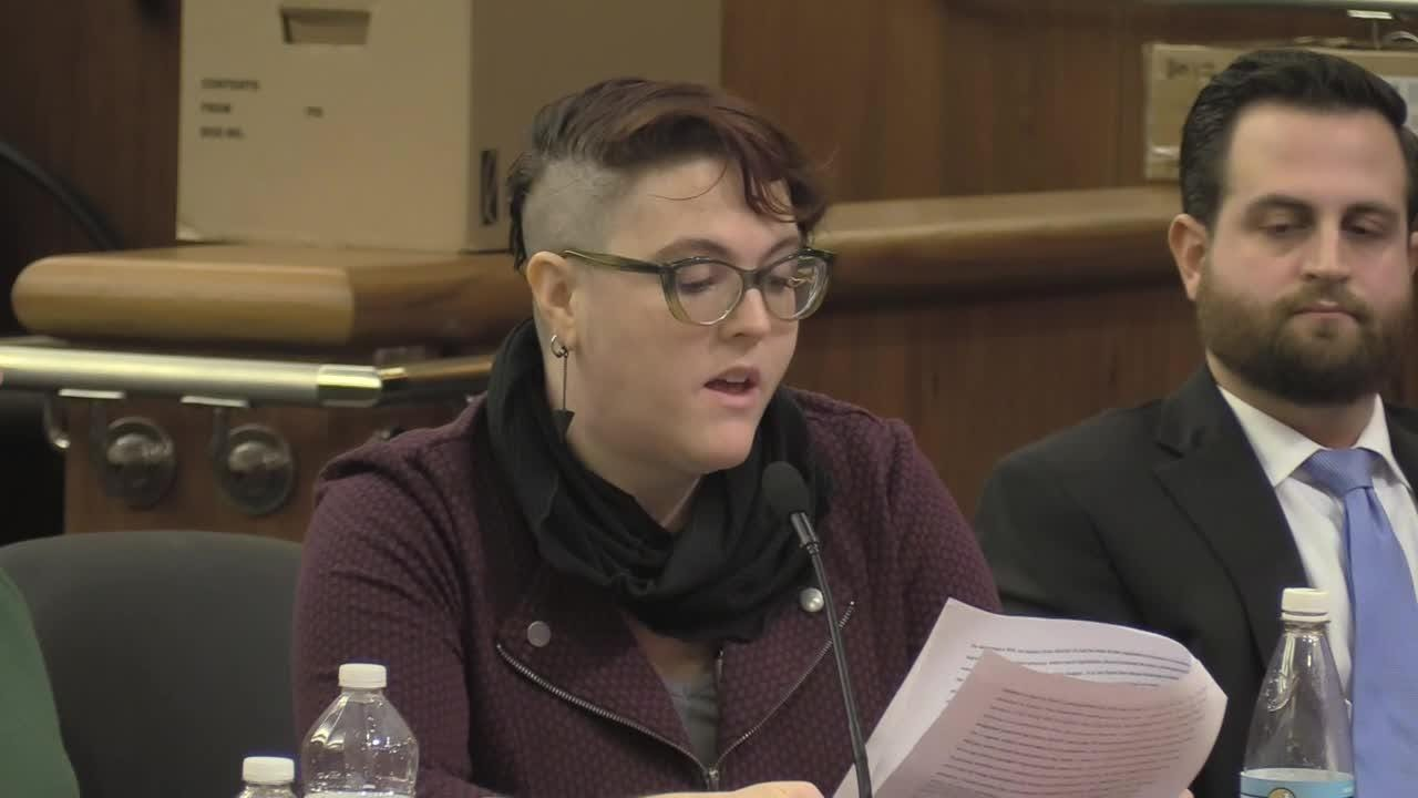 Danielle Bennett, who filed a complaint against then-Assemblyman Micah Kellner, her former boss, speaks out at a hearing on sexual harassment in Albany on Feb. 13, 2019.