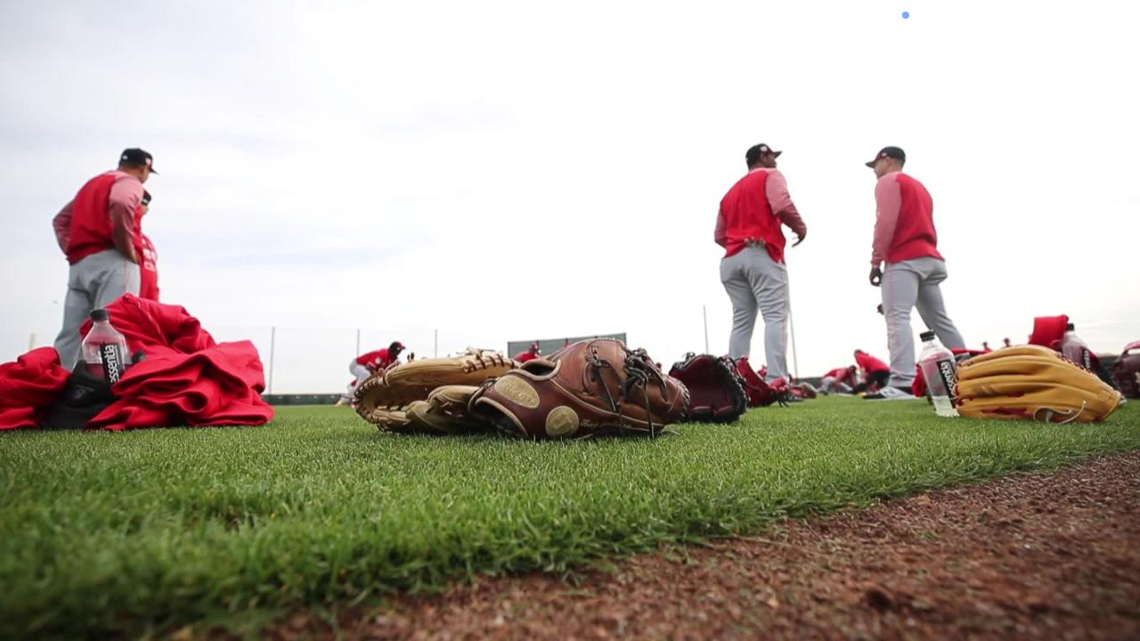 Cincinnati Reds pitchers and catchers hit the field in Arizona for the first workout of spring training.