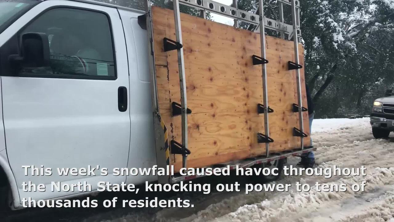Heavy snowfall snapped trees that fell into power lines, knocking out electricity to tens of thousands. The snow snarled traffic all over the North State.