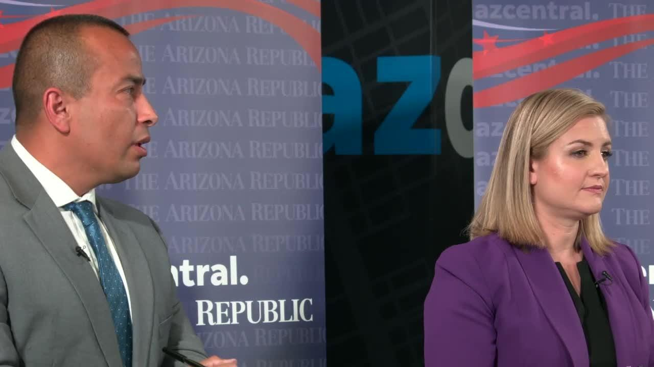Candidates for Phoenix mayor Daniel Valenzuela and Kate Gallego met in the azcentral studio on Feb. 13 to debate a range of topics, including light rail.
