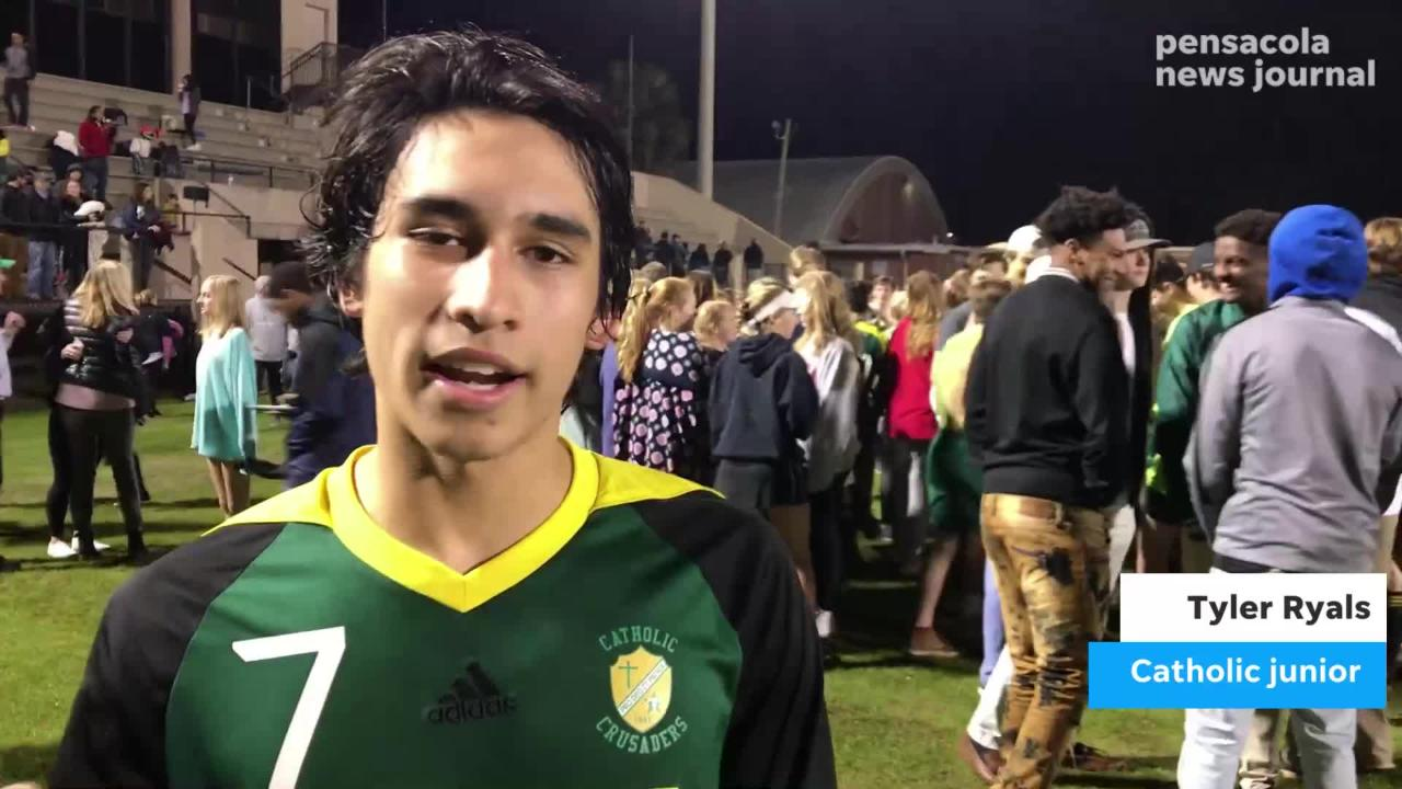 Standout junior forward Tyler Ryals scored a game-winning header in the 62nd minute to lift Catholic to a 2-1 win over Bolles on Wednesday night.