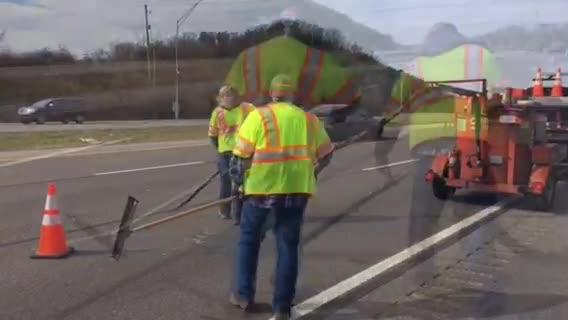 TDOT crews are patching potholes across the state. This crew is sealing cracks in the roadway on I-640 West in Knox County.