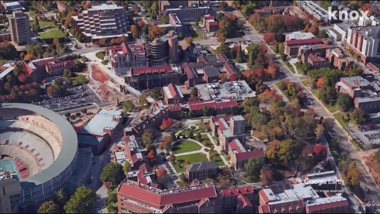 An aerial view of the University of Tennessee, Knoxville.
