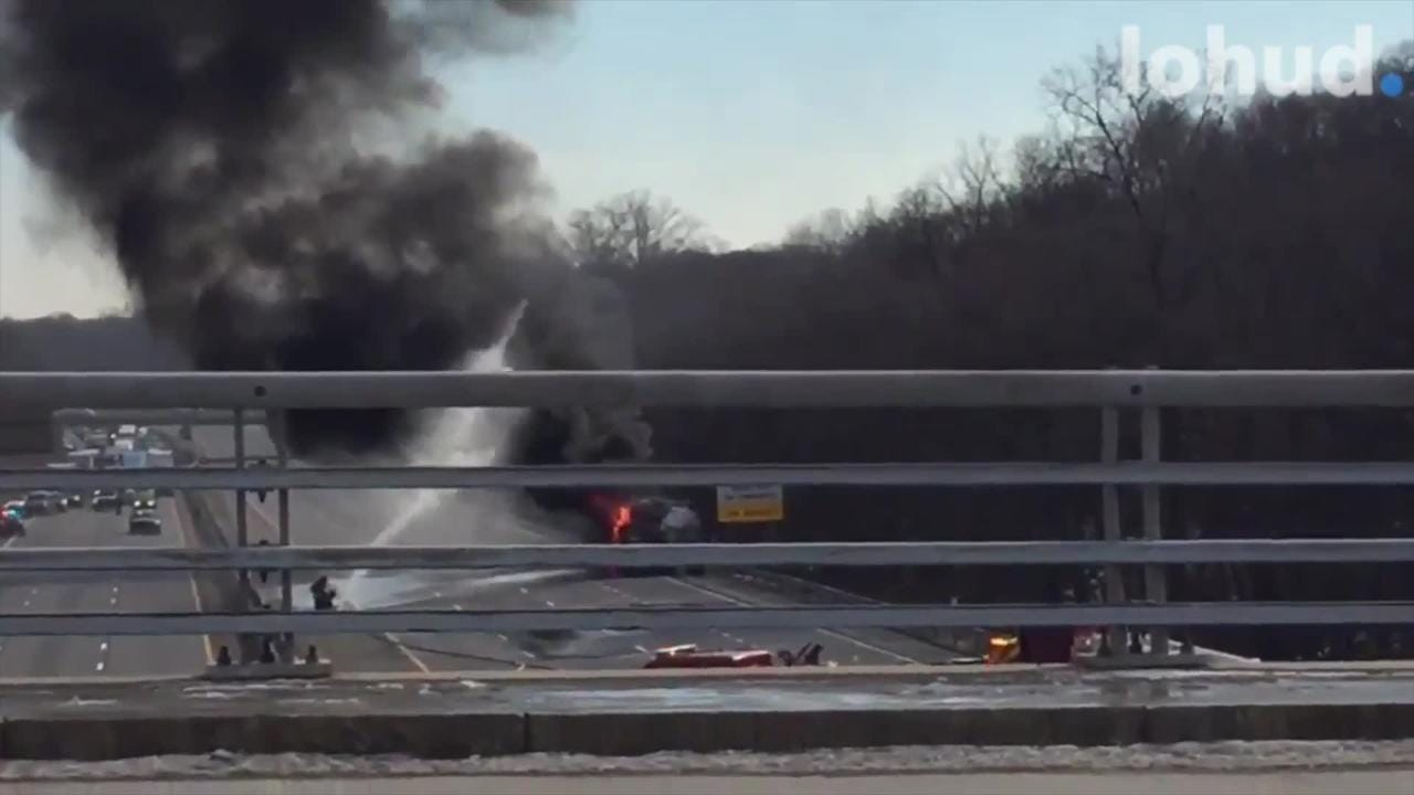 A gasoline fuel truck caught fire on Interstate 287 in White Plains and closed all lanes in both directions, state police said.