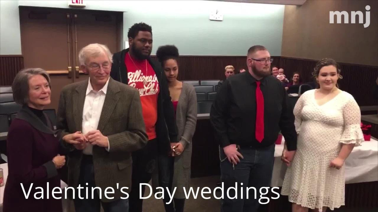 Three couples chose Valentine's Day to tie the knot in Mansfield Thursday.