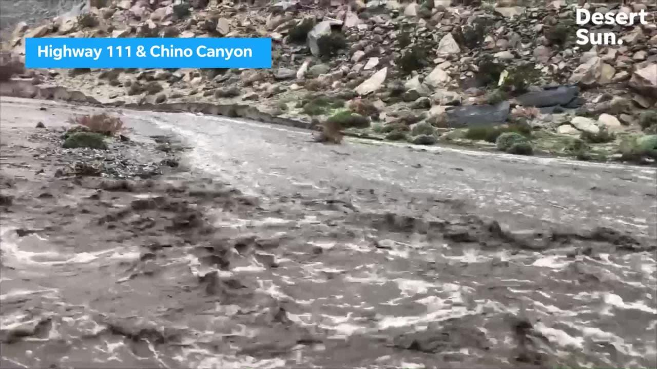 Rain, flooding erodes and destroys part of Highway 111 in Palm Springs