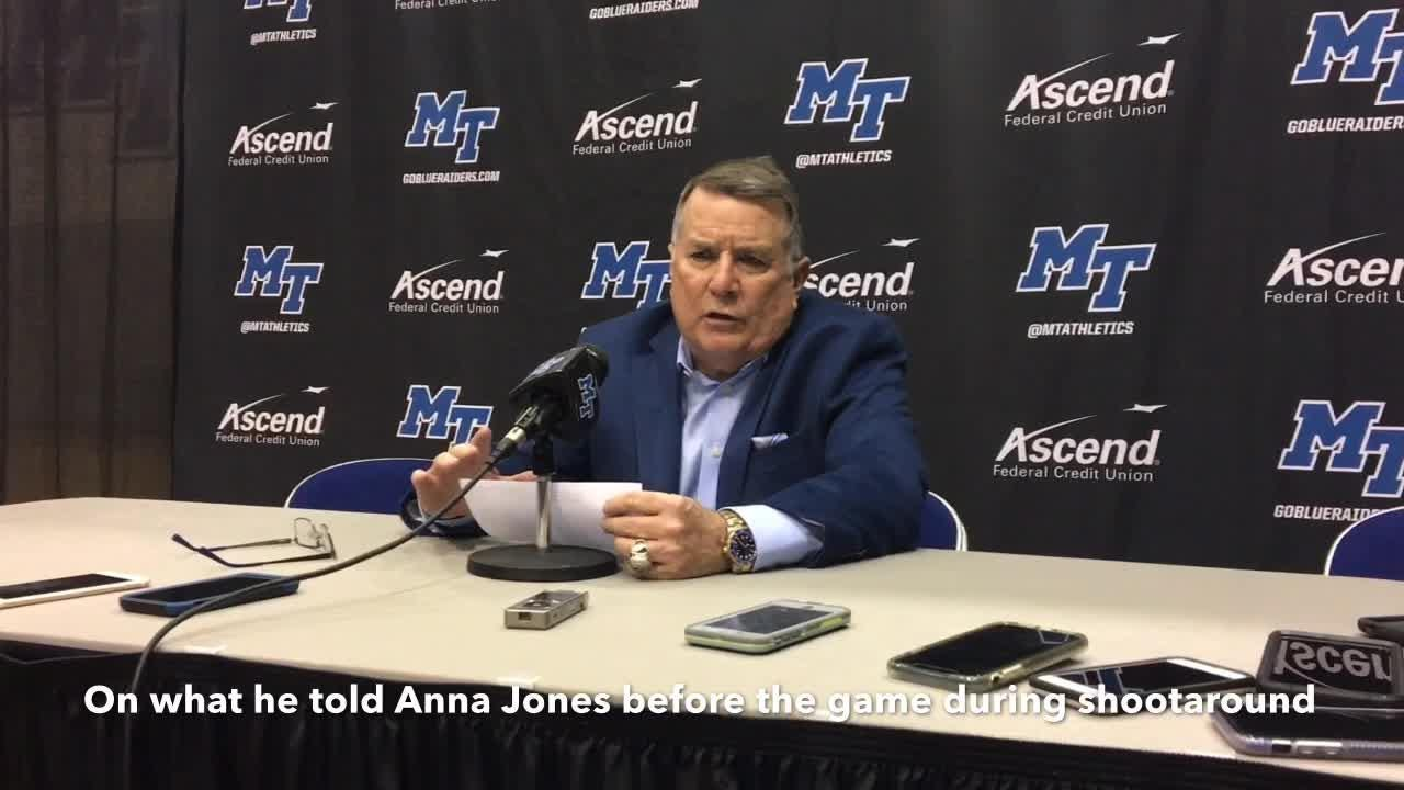 MTSU coach Rick Insell and players Anna Jones and Jordan Majors on the Lady Raiders' win over Western Kentucky on Feb. 14, 2019