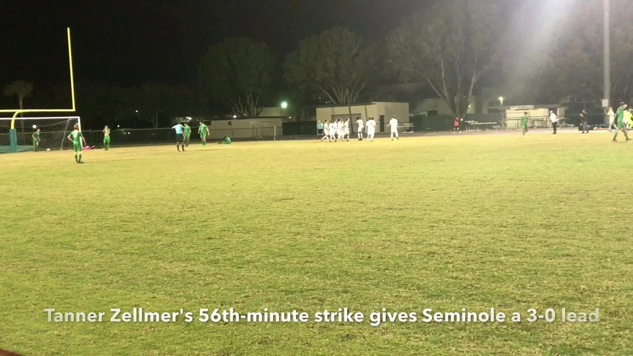 Trailing 3-0 with 24 minutes to go, Fort Myers scored three straight goals with Stefan Fevrier tying the match in the 77th minute before Seminole grabs 79th-minute go-ahead goal.