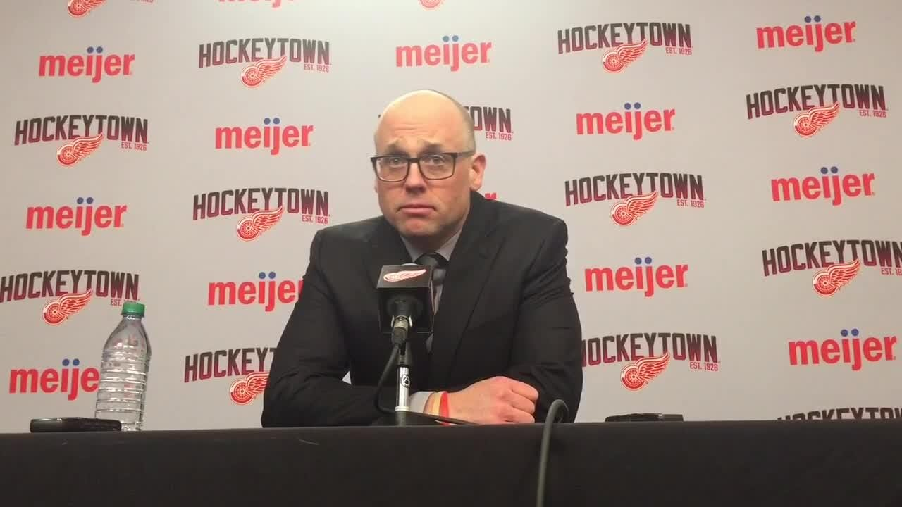 Why the Detroit Red Wings have sent Dennis Cholowski to the minors. Filmed Feb. 14, 2019 in Detroit.