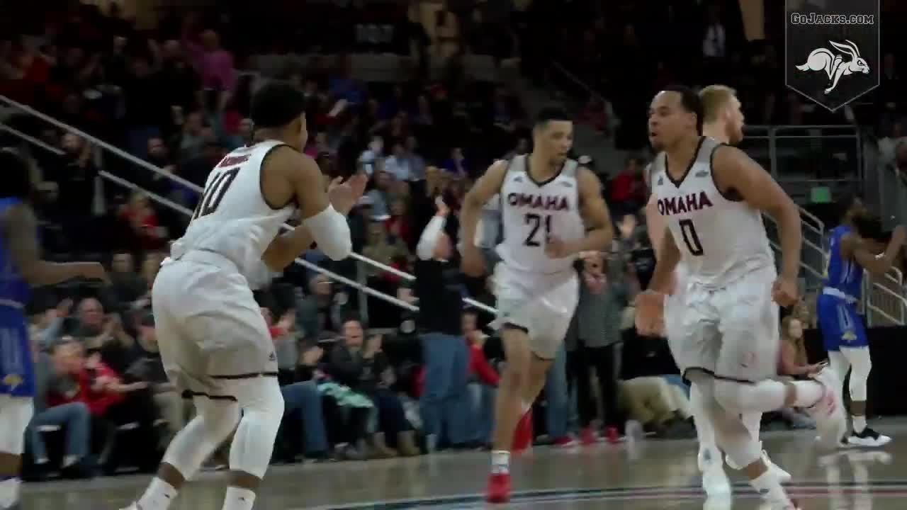 Omaha's Mitch Hahn made a baseline game-winning jumper with .2 seconds left as the Mavericks rallied from a 16-point deficit to defeat South Dakota State 85-84.