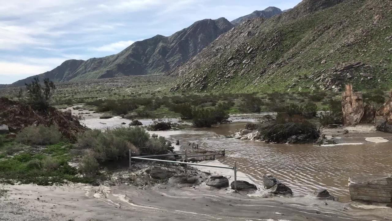 Extension damage was done to Highway 111 north of Palm Springs after heavy rain pummeled the area Thursday, Feb. 14, 2019.