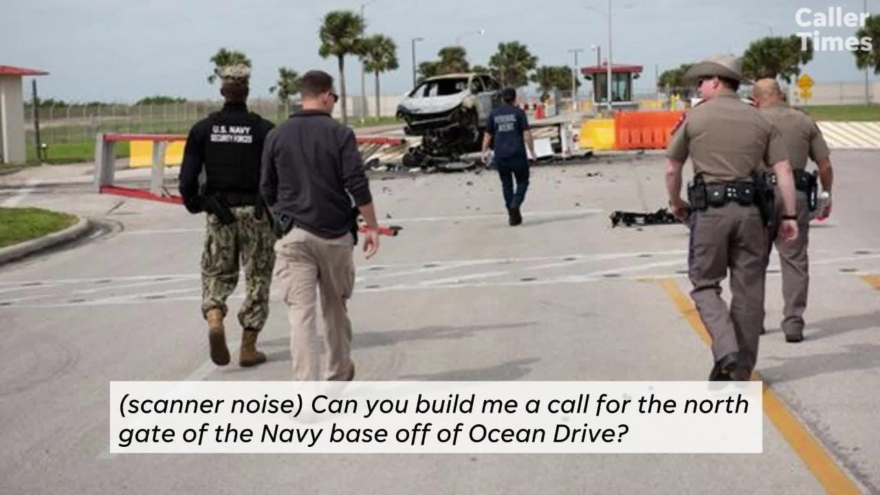 A man was fatally shot after he drove through a gate on Feb. 14, 2019 at Naval Air Station-Corpus Christi. Here are the 911 calls.