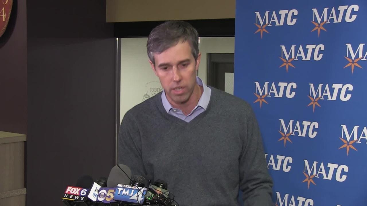 While in Milwaukee talking to students at the Milwaukee Area Technical College, former congressman Beto O'Rourke explains why he disagrees with President Trump's decision to declare a national emergency to build a wall.