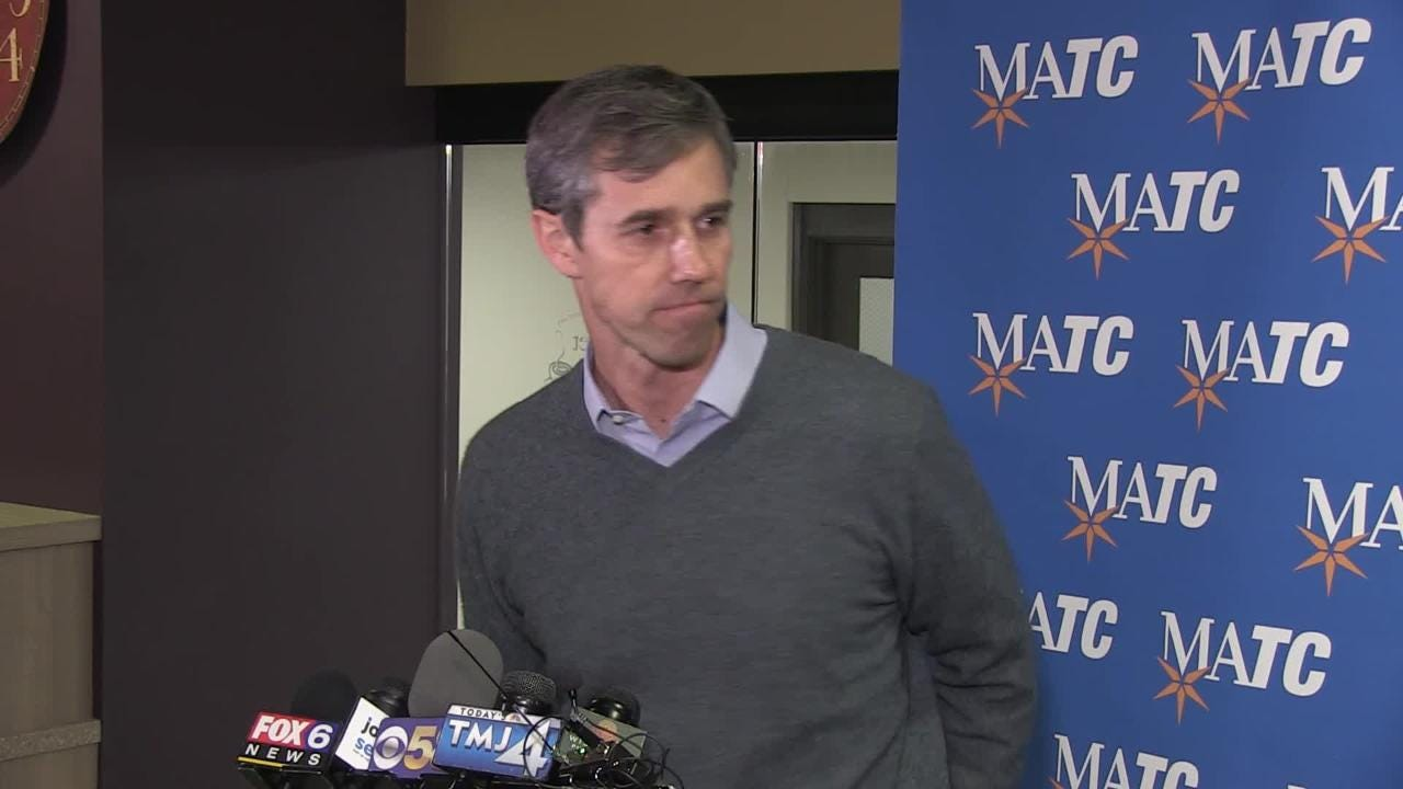 While in Milwaukee talking to students at the Milwaukee Area Technical College, former congressman Beto O'Rourke talks about his possible run for President in 2020 and Trump's decision to build the wall.