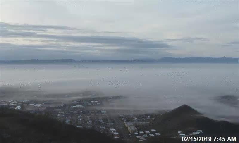 Fog rolling over Phoenix in the morning on Feb. 15, 2019.