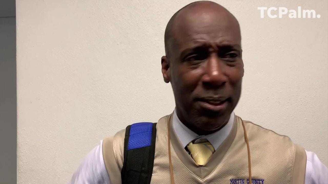 Martin County High School boys basketball coach John Leon talks about his team's loss to Vero Beach in the District 8-9A championship game Friday, Feb. 15, 2019.