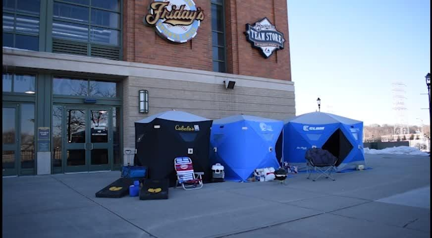 Milwaukee Brewers fans camped out at Miller Park overnight for the annual arctic tailgate event to mark the return of baseball to Milwaukee. Individual Brewers tickets, including a select number of home opener tickets, go on sale Saturday at 9 a.m.