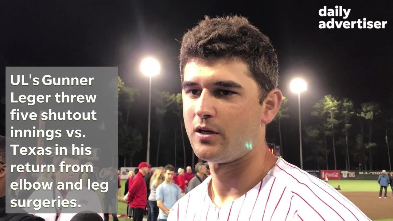 UL's Gunner Leger threw five shutout innings vs. No. 16 Texas in his return from elbow and leg surgeries.