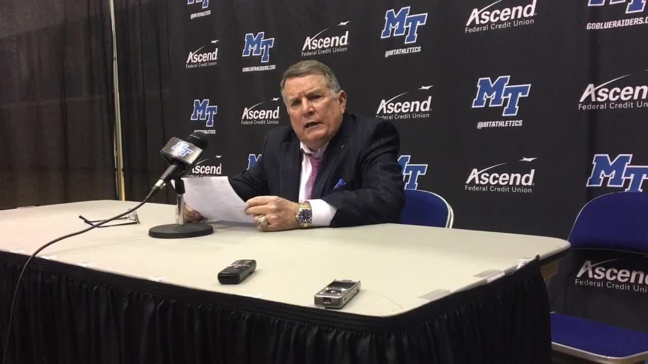 MTSU coach Rick Insell and guard A'Queen Hayes discuss the Lady Raiders' 59-53 loss to Marshall on Feb. 16, 2019
