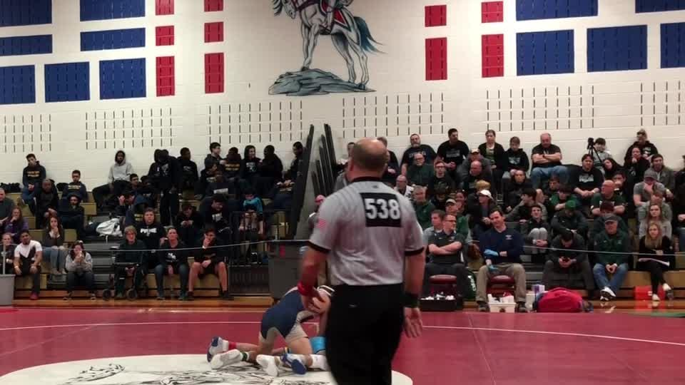 Freehold junior 120-pounder Nico Messia won his third consecutive NJSIAA district wrestling championship Saturday afternoon