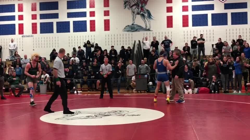 Northern Burlington junior 170-pounder Anthony Giampietro pinned Raritan's George Burdick to win the District 21 170-pound championship