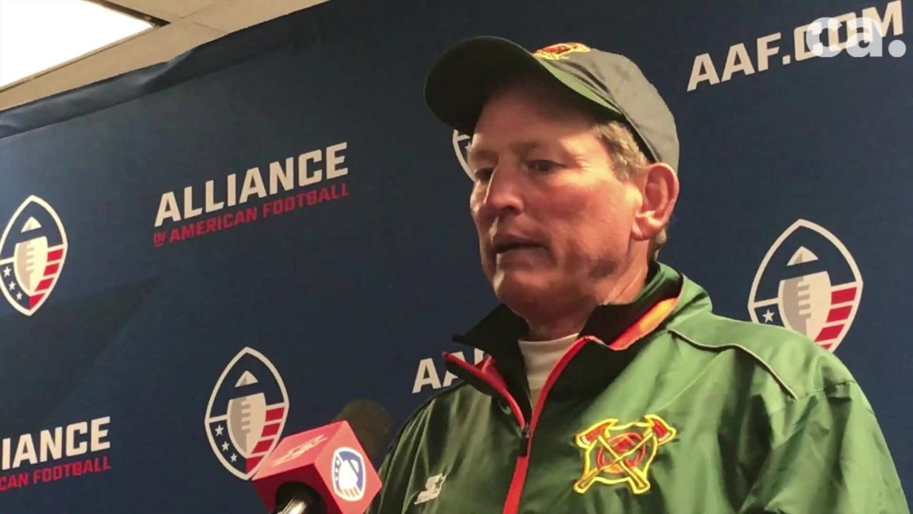 Arizona Hotshots coach Rick Neuheisel spoke to the media after his team's 20-18 win over the Memphis Express Saturday.