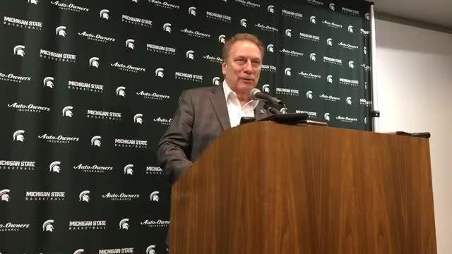 Michigan State basketball coach Tom Izzo speaks to the media after the 62-44 win over Ohio State on Sunday, Feb. 17, 2019, in East Lansing.