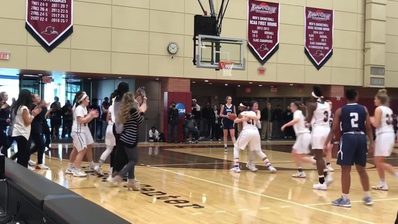 Sydnei Caldwell sinks a free throw for her 1,000th career point, icing Saddle River Day's fourth straight Bergen County girls basketball title.