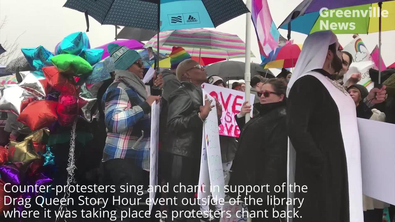 Protesters, counter-protesters go back and forth outside Drag Queen Story Hour at Five Forks library  in Greenville on Sunday, Feb. 17, 2019.