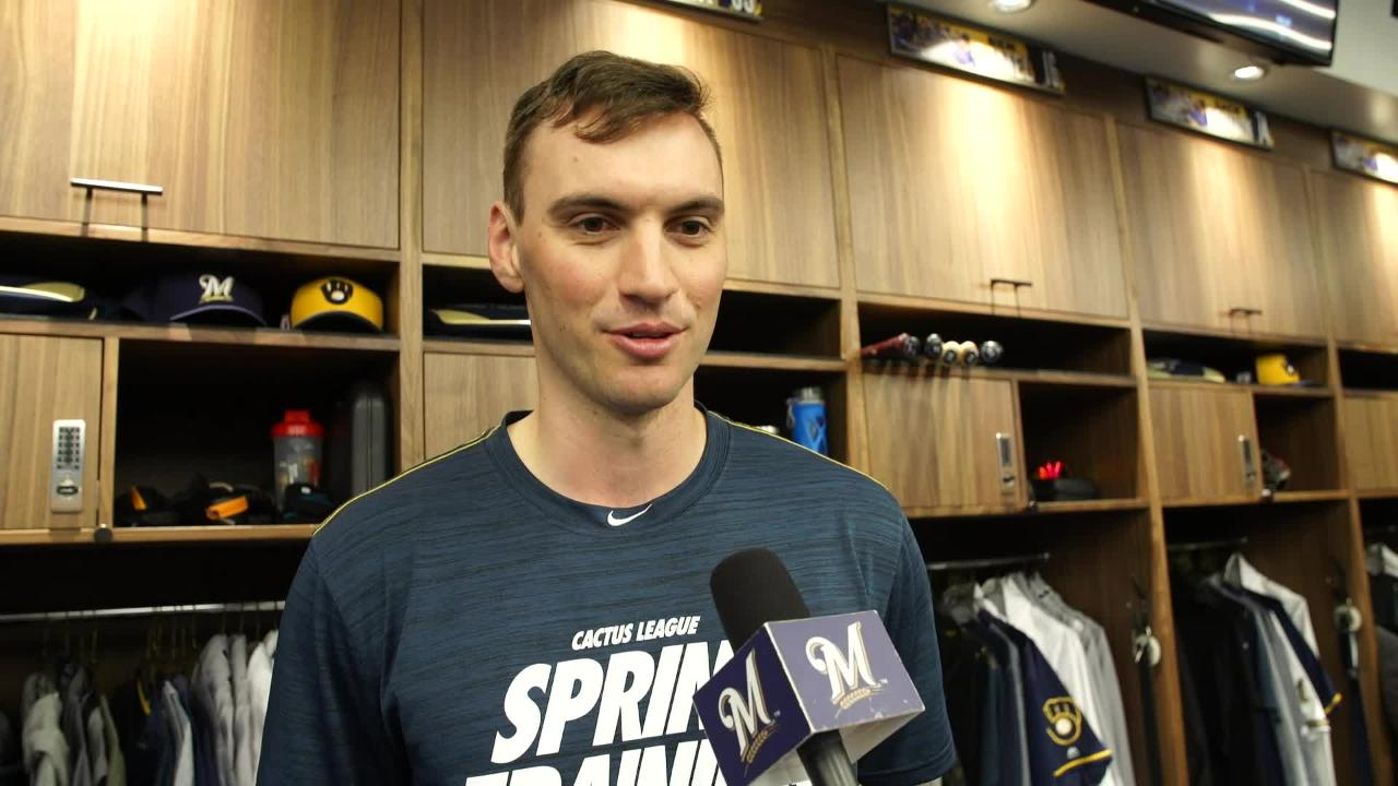 Brent Suter talks about his pitching workout during 2019 spring training