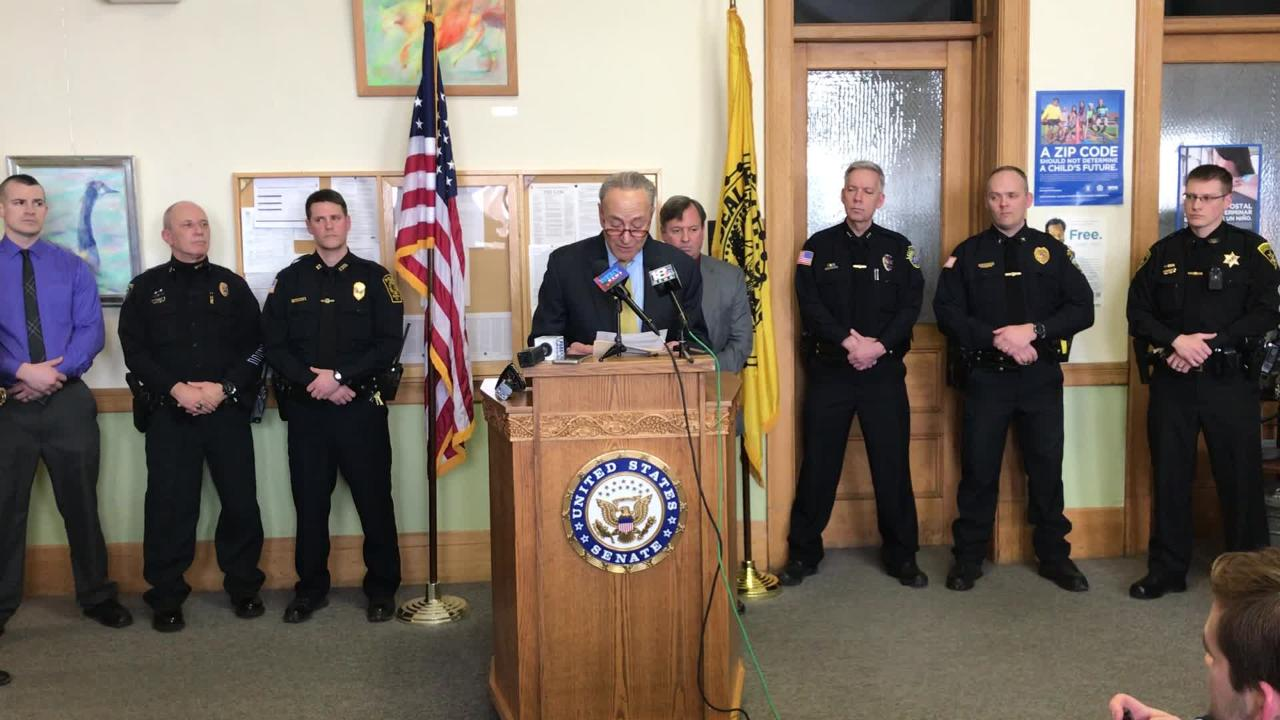 U.S. Sen. Chuck Schumer spoke in Elmira today pushing for passage of a bill that would provide small police departments with funding for drug testing equipment.