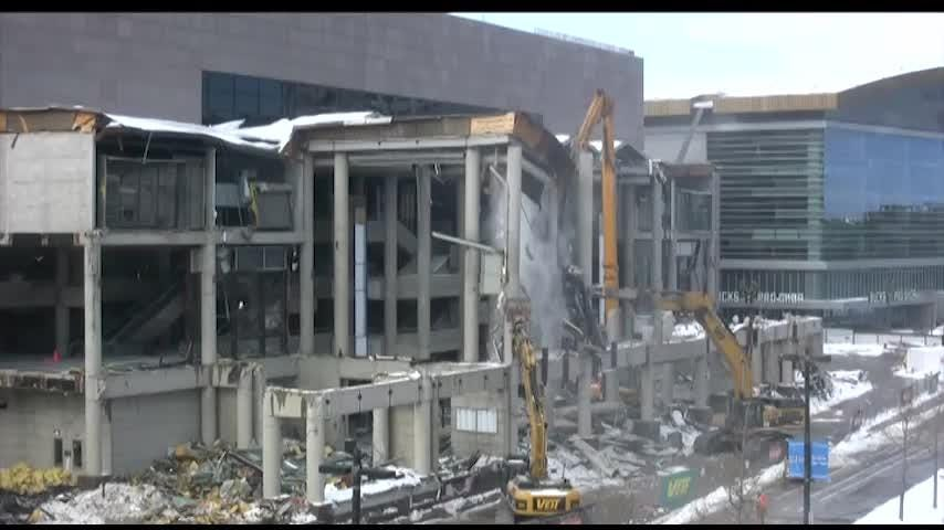 Time lapse video of  demolition crews taking down the east atrium of the Bradley Center.