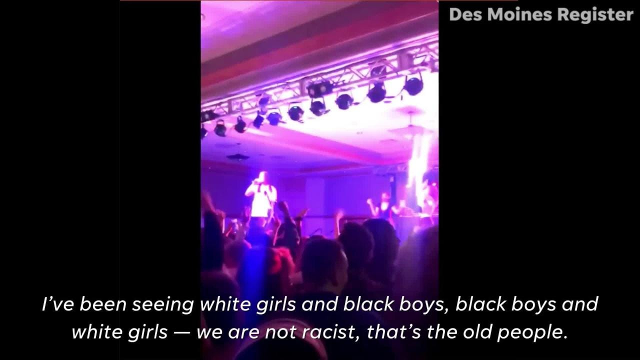 A video taken on Feb. 16 captures the rapper's denouncement of racism after an ongoing controversy proceeded the concert.